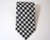Black Gingham Necktie for Men