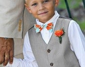 Bowtie for Little Boys Orange and Blue Damask