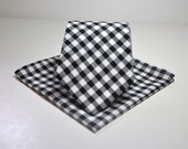 Men's Tie and Pocket Square -  Black and White 1/4 In Gingham Necktie