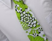 Lime Green Necktie for Men or Boys - Mod Floral Tie