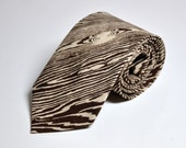 Faux Bois Necktie - Woodgrain Coffee Brown Mens Tie