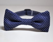 Bowtie for Little Boys Navy and White Pindots