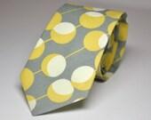 Men's Tie Gray and Yellow Martini Dots - Boy's Tie or Men's Necktie