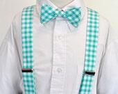 Suspenders and Bowtie Set Boys or Mens Aqua Gingham