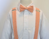 Mens Bowtie and Suspender Set Orange Gingham LOTS of COLORS AVAILABLE