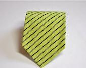 SALE Mens Necktie Neon Green and Black Dot Stripe READY TO Ship