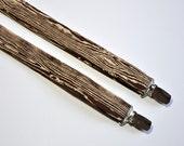 Woodgrain Suspenders for Boys or Men Coffee Brown Faux Bois
