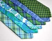 Necktie - Blue and Green Ties for Men Boys Toddler and Baby - Custom Wedding Neckties