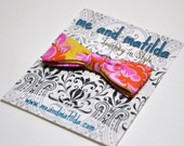 Hair Bow Made to Match Any Necktie or Bowtie - Girls Hair Clip in Pink and Mustard Fabric