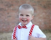 Boy's Bow Tie and Suspenders - Red and White Polka Dot Children's Set Valentine's Day Bowtie and Suspenders
