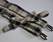 Black and Tan Plaid Suspenders and Bowtie Set for Boys Toddlers Baby or Men