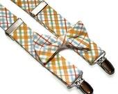 Bowtie and Suspenders in Orange and Blue Plaid
