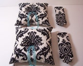Two Modern Wedding Ring Bearer Sets Neckties and Ring Pillows