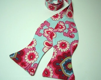 Freestyle Bow Tie for Men Blue and Pink Damask