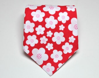 Necktie Red Blossoms Me and Matilda Everyday Neck Tie for Men or Boys