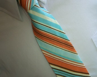 Men's Necktie Retro Orange and Blue Stripe