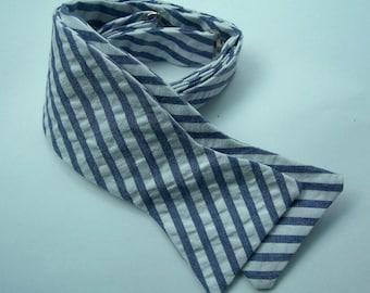 Freestyle Bowtie For Men Blue Stripe Seersucker