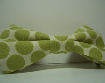 Bow Tie for Little Boys Lime Green Big Dots