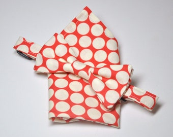 Bowtie and Pocket Square Set for Little Boys Red Big Dots