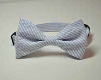Bowtie for Little Boys Light Blue Seersucker Stripe