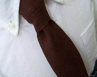 Chocolate Brown Linen Necktie Men or Boys Tie