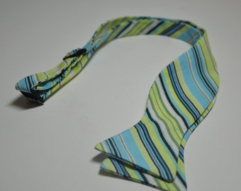 Freestyle Bowtie for Men Lime and Blue Stripes