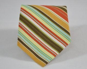 Men's Tie Olive and Orange Stripe - Fall Necktie - Thanksgiving