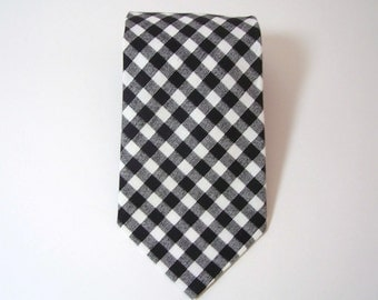 Black Gingham Necktie for Men