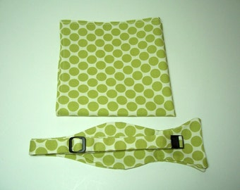 Mens Freestyle Bow Tie in Lime Green Dots