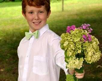Boys Bow Tie Lime Seersucker Stripes  MANY COLORS AVAILABLE