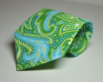 Mens Neckties Boys Necktie Me and Matilda Everyday Necktie Island Blue and Green Paisley