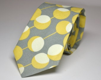 Men's Tie Gray and Yellow Martini Dots - Boy's Tie or Men's Necktie