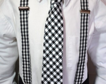 Suspenders and Necktie Set for Boys or Men  in Black and White Gingham