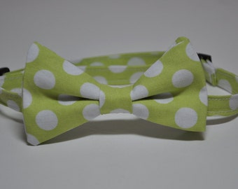 Boy's Bow Tie Lime Green and White Polka Dot Bowtie