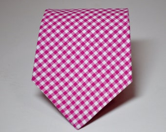 Necktie Me and Matilda Everyday Necktie Fuschia Gingham