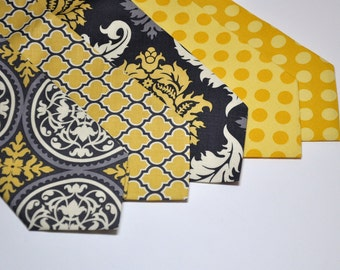Neckties Mens or Boys for Your Wedding Party Mustard Yellow Charcoal Gray
