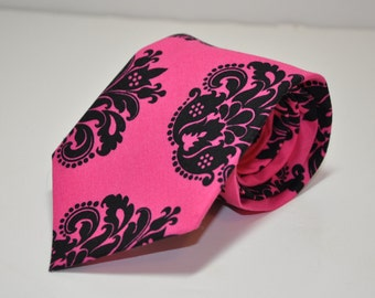 Men's Tie  - Hot Pink and Black Damask Boy's TIe or Men's Necktie
