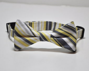 Yellow and Gray Bowtie for Little Boys - Striped Grey and Yellow Bow Tie