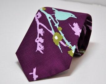 Purple Necktie - Bird Tie for Men or Boys