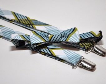 Plaid Bow Tie and Suspenders for Men - Blue and Green Picnic Plaid