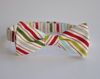 Boys Bow Tie Red Green and Blue Stripes