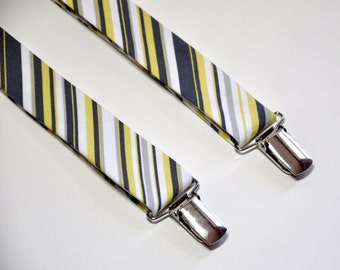Yellow and Gray Striped Suspenders for Men Boys Toddlers Babies