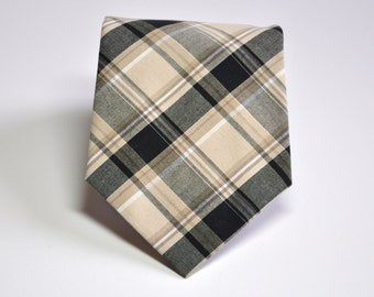 Tan Plaid Necktie for Men Boys Toddlers or Baby