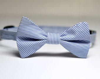 Boys Bow Tie Navy Pinstripes