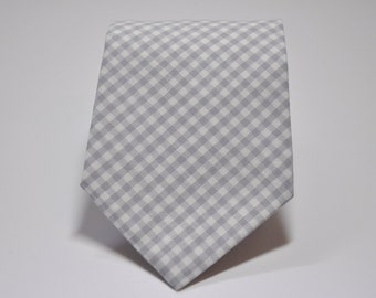 Gray Gingham Necktie - Mens or Boys Tie