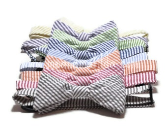 Boys Bow Tie Seersucker Stripe - Choose Your Color