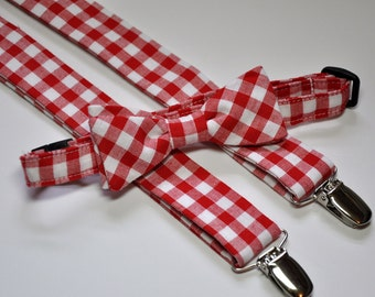 Men's Red Gingham Bowtie and Suspender Set