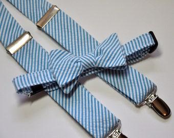 Turquoise Seersucker Bowtie and Suspender Set for Men
