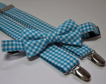 Turquoise Gingham Bowtie and Suspenders