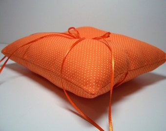 Ringbearer Pillow Modern Wedding Ring Pillow Orange Pindots